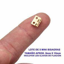 MINIATURAS MINI BISAGRAS LOTE DE 5 PIEZAS CON SUS CLAVOS CASAS DE MUÑECAS DORADA
