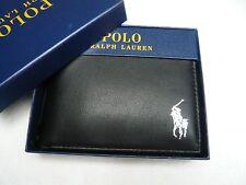 NWT POLO RALPH LAUREN MENS TEXTURED PASSCASE black/silver pony WALLET