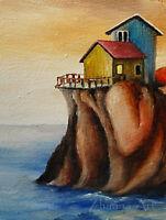Original ART ACEO oil PAINTING seascape houses on rocky land sunset miniatre