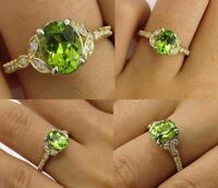 3ct Oval Cut Green Peridot Diamond Vintage Engagement Ring 14k Yellow Gold Over