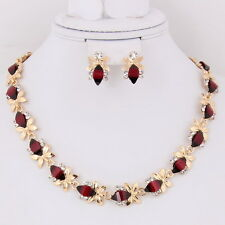 African Jewelry sets For Women 18K Gold Plated Red Resin Necklace Earring A2004R