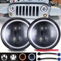 "2pcs 7"" Inch Round LED Headlights Halo Angle Eyes For Jeep Wrangler JK LJ TJ CJ"