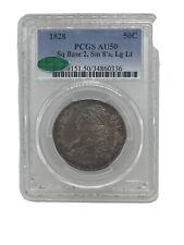 1828 Capped Bust Half Dollar Sq. Base, Sm. 8, Lg. Letters ~ PCGS & CAC AU-50