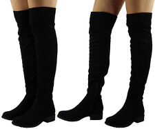 Womens Thigh High BOOTS Ladies Over The Knee Stretch Suede Low Heel Shoes Size UK 4 / EU 37 / US 6 Black
