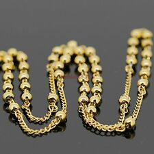 """18k Gold Plated Stainless Steel 4mm Rosary Cross Link Chain Necklace 24""""+6"""""""