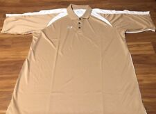 New Balance Polyester Athletic Polo Golf Baseball Shirt 2Xl Gold White Nwt Nice