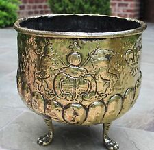 Antique French Brass Planter Flower Pot Jardiniere Paw Feet Lions Knight Flags