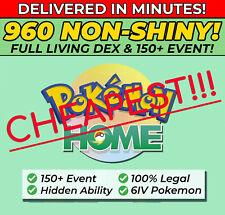Pokemon Home ALL 807 NON SHINY FULL Living Dex, 150+ Event   6IV, Hidden Ability