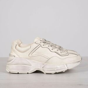 GUCCI 790$ Ivory Rhyton Sneakers In Vintage Distressed Leather
