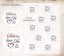 10 Aufkleber Sticker - Schön, dass Du da bist ! Hochzeit Taufe Kommunion u.a.D72