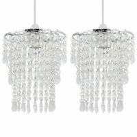 Set of 2 Modern Easy Fit Ceiling Light Shades Chrome Clear Acrylic Crystal Jewel