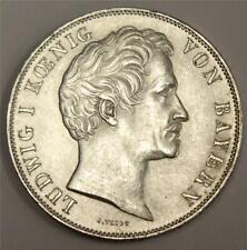 1845 German States Bavaria Zwey (2) Gulden silver coin KM819 AU55