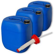 3er Set Wasserkanister Getränkebehälter 30 Liter blau Plastik Ausgießer flexibel