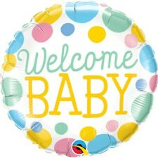 Welcome Baby Dots Qualatex 18 Inch Foil Balloon