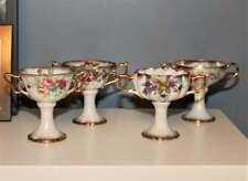 Vintage Procelain Pedestal Dessert Sherbet Cups Set of 4 Hand painted Floral