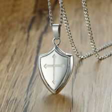 Men Necklace Pendant Shield of Faith Engraved Joshua 1:9b Armor Jesus Cross Gift