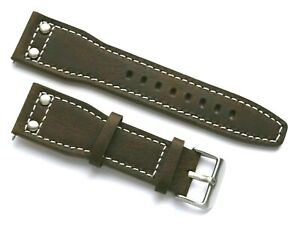 24mm Brown Rivet Style Nostalgic Leather Replacement Watch Band -  Invicta Lupah