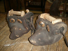 Pair Antique Leather Tapaderos #5-Cowboy-Vaquero-Rustic-Old Mexican-Stirrups