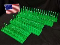 "Hansen 6 Pc SocketTray Metric SAE Tool Rack Holders 1/4"" 3/8"" 1/2"" Green -USA"