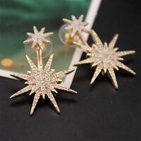 Women Gold glitter Lady Crystal Rhinestone Dangle Earrings Star Ear Stud Earring