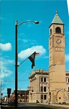 Neenah Wisconsin~4:55 PM on Clock Tower @ City Hall~1960s Postcard