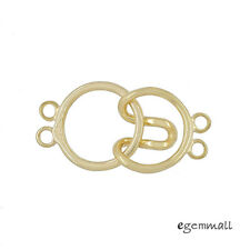 18kt Gold Plated Sterling Silver 2-Strand Round Hook and Eye Clasp #99585