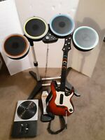 PS3 PS2 Rock Band Drums & Fender Guitar Dongle & Mixer Rock Band Bundle No Games