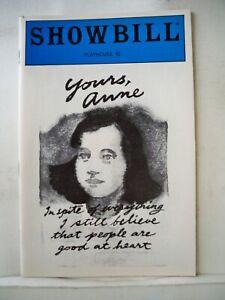 YOURS ANNE Playbill TRINI ALVARADO / GEORGE GUIDALL / DAVID CADY Flop NYC 1985