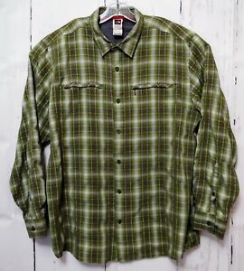The North Face Mens XL Green Modal LS Button Up Hiking Camping Fishing Shirt