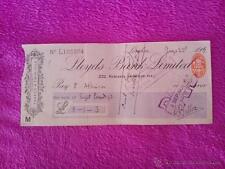 CHEQUE FIRMADO Y SELLADO DE HILAIRE BELLOC (LLOYDS BANK LIMITED) 1908