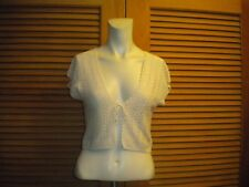 Caslon Ivory light Weight Crochet Cardigan Vest Silk Cotton Shrug Small #7893