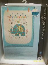 "DIMENSIONS STAMPED CROSS STITCH KIT ""BABY ELEPHANT ABC"" 34X43 SEALED BABY QUILT"