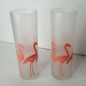 Lot of 2 Frosted Flamingo High Ball Drinking Cocktail Glass Appx 7 x 2.5 inches