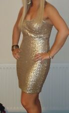 Gold Sequin Boobtube Dress - Size S (fit 10)
