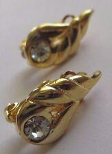 boucles d'oreilles clips ancienne bijou vintage couleur or brillant diamant 3502