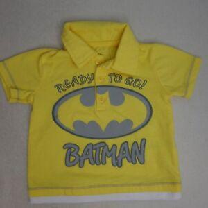 Batman Boys 3-6 Months Yellow Short Sleeve 1/4 Button Collared Polo Shirt LL12
