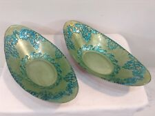 Oval Bowls (Pair) Decorative Aqua Light Green Paisley Floral Ceramic Enamel