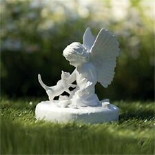 Trixie Memorial Stone Cat with Angel, 12 x 14 cm, White