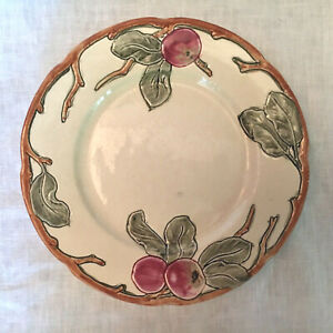 """Antique Pottery WELLER WARE INCISED APPLE PLATE 9"""" Arts & Crafts Mission"""