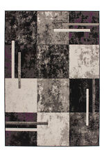 Billig Teppiche Konturenschnitt Design Teppich Karo Grau Elfenbein 80x150 cm