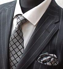 Tie Neck tie with Handkerchief Black with Check Squares