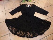 MAGNA Tunika Kleid Gothik 52 54 NEU! schwarz A-Form 2 Lagen in Spitze LAGENLOOK