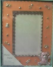 "BABY GIRL PICTURE FRAME TEDDY & CRYSTALS"" 43411 SILVER  PLATED  IN GIFT BOX"