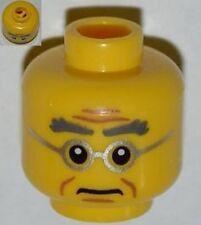 LEGO - Minifig, Head Male Bushy Gray Eyebrows, Wrinkles, Silver Frame Glasses