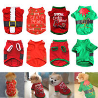 Cute Santa Christmas Pet Dog Shirt Coat Puppy Cat Costume Clothes Xmas Apparel