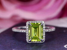 1.5ct Emerald Cut Green Peridot Solitaire Engagement Ring 14k White Gold Finish
