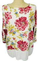 J Jill Ivory Pink Green Floral 3/4 Sleeve Lace Lattice Accent Tunic Top Large