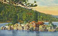Linen 1940s Big Bear Lake California FRASHER'S INC. 3.5x5.5 Postcard