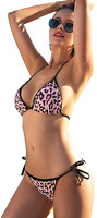 Women's Leopard Print Bathing Suit Halter Bikini Set Straps Tie String 2 Pieces