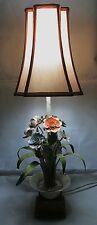 VINTAGE CONTINENTAL TOLE TABLE LAMP WITH 8 FLOWERS, FOLIAGE & PLEATED SHADE